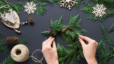 Making a homemade wreath. PA Photo/thinkstockphotos