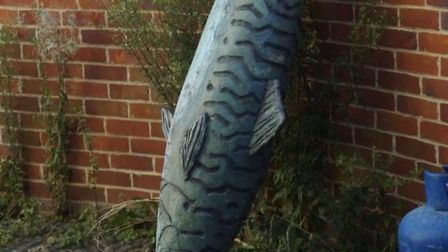 The giant mackeral artwork which has been put under lock and key for safe-keeping.