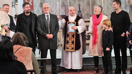 The vicar, Father Christopher, thanks the Andersons in church (Photo: Emma McCafferty)
