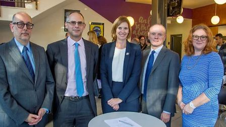 (Left to right) Ian Philips, John Rubinstein, Lucy Harrison, Mike Freer MP and Avis Johns at the ann