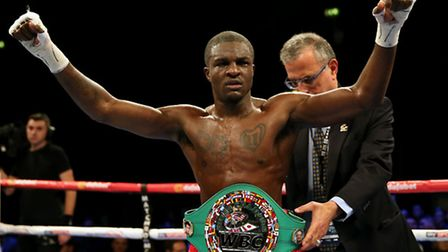 Ohara Davies celebrates victory over Andrea Scarpa during the WBC Silver super lightweight title bou