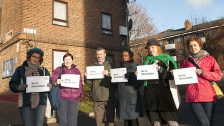 Campaigners on the Northwold Estate protesting against redevelopment. Left to right: