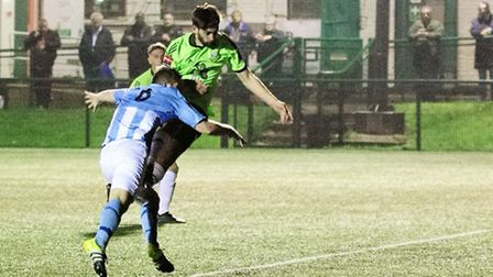 Casey Maclaren heads home to score the first of Hendon's three second-half goals at Silver Jubilee P