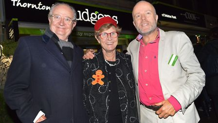 Jim Broadbent with organiser Linda Grove and sponsor Andrew Thornton from Budgens. Photo: Polly Hanc