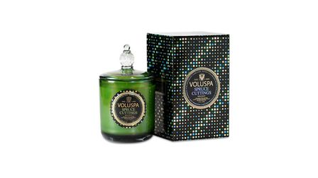 Classic Maison luxury candle, Spruce cuttings, £45, available from Voluspa. PA Photo/Handout