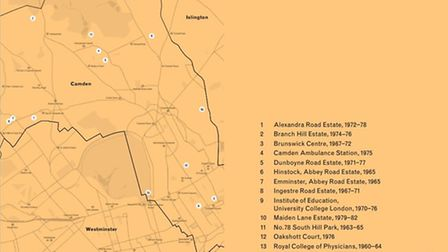 The book maps out the key sites of brutalist architecture in every London borough - starting with Ca
