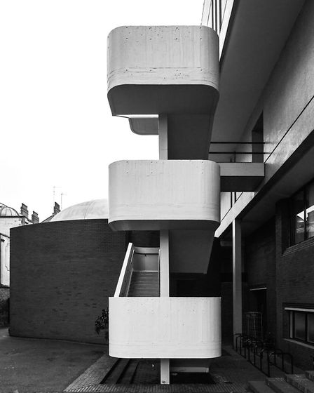 The Royal College of Architecture echoes the white stucco of the nearby Nash terraces with mosaic ti