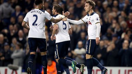 Christian Eriksen (right) celebrates with Kyle Walker after scoring his second goal against Hull