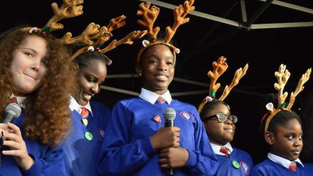 The choir from Berger Primary School on the stage