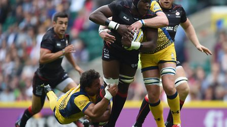Maro Itoje on the attack for Saracens. Picture: PA