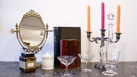 Home accessories, including champagne coupes modelled on Marie Antoinette's breast
