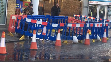 Water was raised before the pipe burst. This picture was taken at 11.30am yesterday. The pipe burst