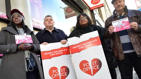 Diane Abbott MP joined union members on outside the Post Office in Kingsland High Street. Pictured f