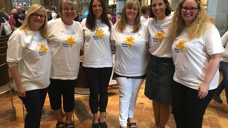 The team from the Marie Curie Hampstead Hospice in rehearsals, with manager Jackie Laidlaw, middle r