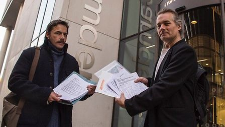 The Friends of Highgate Newtown Community Centre hand in their petition. Photo: Jon Levy