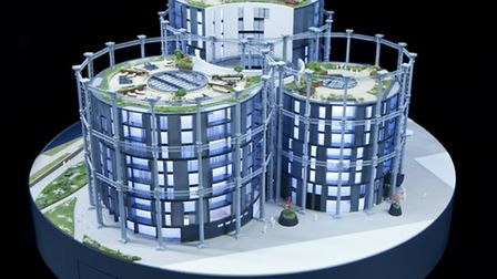 A scale model of the King's Cross gasholders, made by Pipers Models in Hoxton. Picture: Pipers Model