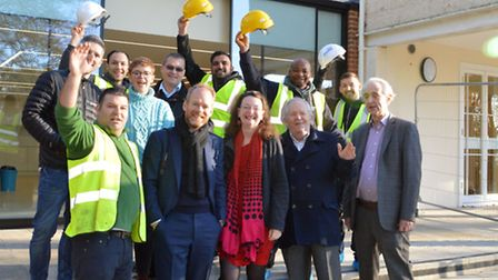 Celebrating the completion of works at Lauderdale House, from left Mario Gammaldi (site manager) Mar
