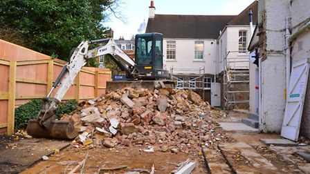 The old workshop was demolished in Dec 2015. Photo: Polly Hancock