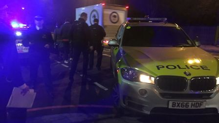 Police at the scene in Portland Rise. Picture: @999London