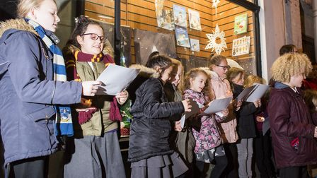 The school choir sang Christmas carols at the unveiling to get everyone into the festive spirit. Pic