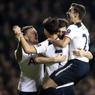 Ben Davies (seond from right) celebrates after scoring his first Tottenham goal. Picture: PA