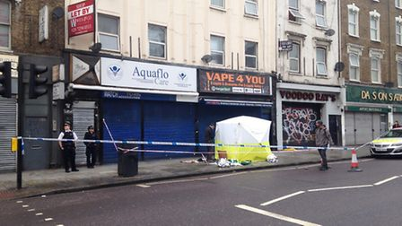 A forensics tent was set up in Kingsland High Street on Sunday morning.