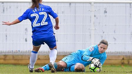 Spurs Ladies goalkeeper Toni-Anne Wayne (right) in action against Gillingham on Sunday. Picture: wus