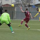 Haringey Borough goalscorer Ralston Gabriel (right) gets a shot off against Brentwood Town. Picture: