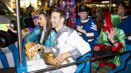 Marina Theatre Panto star Mark Read takes part in the Lowestoft Christmas Spectacular parade through