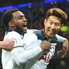 Tottenham's half-time substitute Heung-Min Son (right) celebrates his equaliser with Danny Rose. Pic