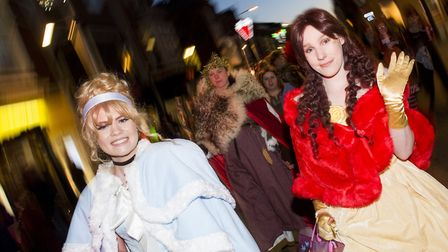Disney Princesses take part in the Lowestoft Christmas Spectacular parade through the town centre.Pi