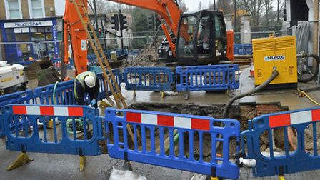 Thames water works at the junction of Stoke Newington High Street and Northwold Road