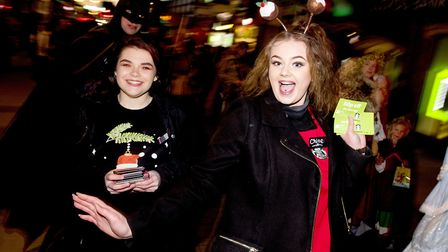 Panto stars and local groups take part in the Lowestoft Christmas Spectacular parade through the tow