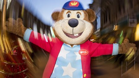 Woody Bear taking part in the Lowestoft Christmas Spectacular parade through the town centre.Picture