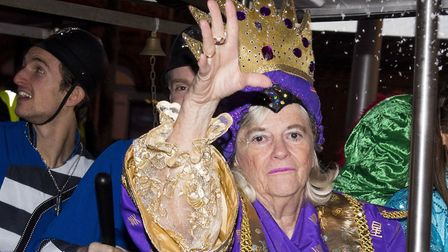 Ann Widdecombe with Marina Theatre panto stars take part in the Lowestoft Christmas Spectacular para