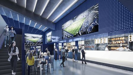 The bar area in the east lower stand
