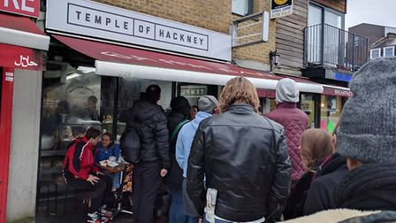 Queues outsideTemple of Hackney. Picture: Ashley Norris