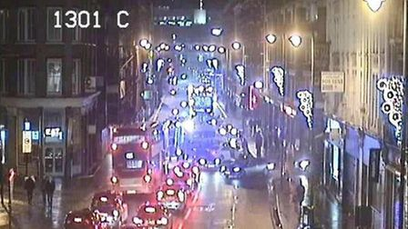 The biker was taken to hospital after the crash at 10.20pm. Picture: @TfLTrafficNews.