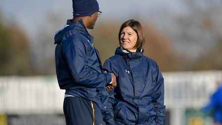 Spurs Ladies manager Karen Hills (right) with strength and conditioning coach Anton Blackwood. Pictu