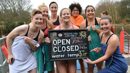 KLPA New Years day swim at the Ladies Pond. Members of the Hampstead ladies Rugby Team prepare to br