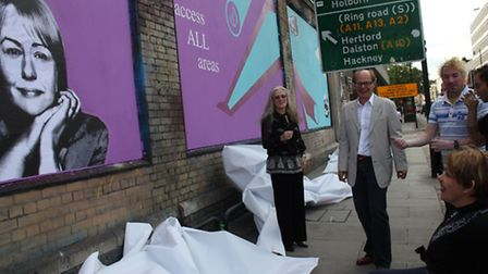 Baroness Grey Thompson looks at an image of herself on the artwall