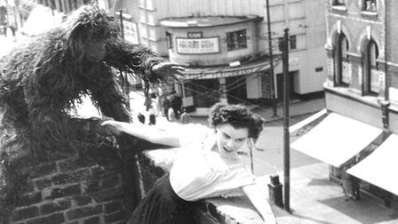 Publicity stunt in 1950 on a roof top opposite the Rio, possibly to promote Mark Of The Gorilla