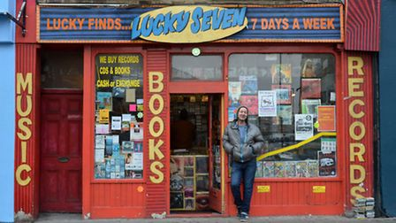 Jason Gore outside the unmissable Lucky Seven, records and books. Picture: Polly Hancock