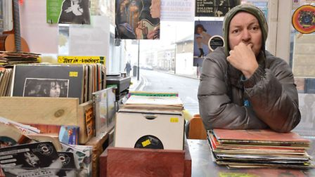 Shopkeeper Jason Gore at Lucky Seven, records and books. Picture: Polly Hancock