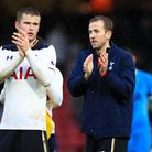 Tottenham Hotspur's Eric Dier (left) and Harry Kane applaud the fans after their 4-1 win at Watford
