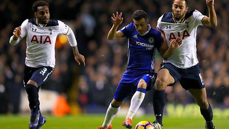 Mousa Dembele (right) battles with Chelsea's Pedro. Picture: PA