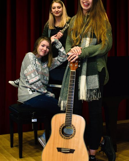 There was live music from current students Emily George, Eryn Burgess and Emma Clayton. Picture: Cou
