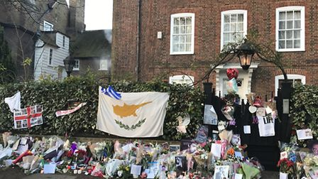 The shrine outside George Michael's home in The Grove. Photo: Emily Banks