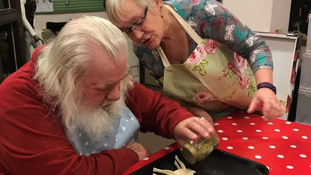 Mike in the arts and craft workshop at the Llandudno training and rehabilitation centre. Picture: Co