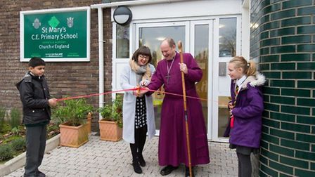 St Mary's Church of England Primary School's expansion was blessed by the Bishop of Edmonton rev Rob